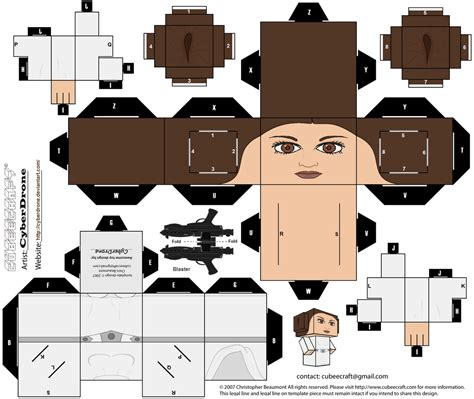 wars template cubee princess leia by cyberdrone on deviantart