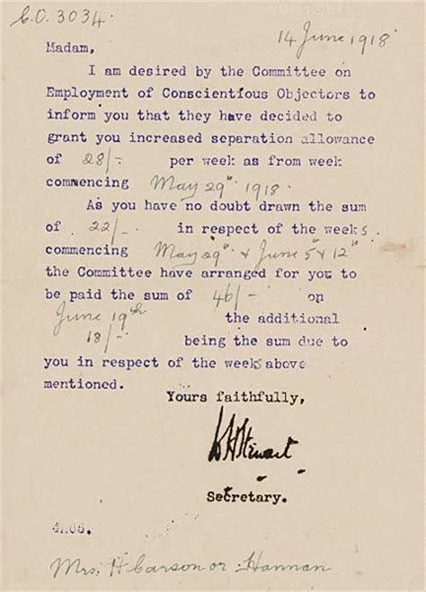 Divorce Letter To Home Office Allowance Letter Conscientious Objector Experiences Of The Great War National Library Of
