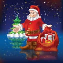 santa claus with gifts and christmas tree stock vector