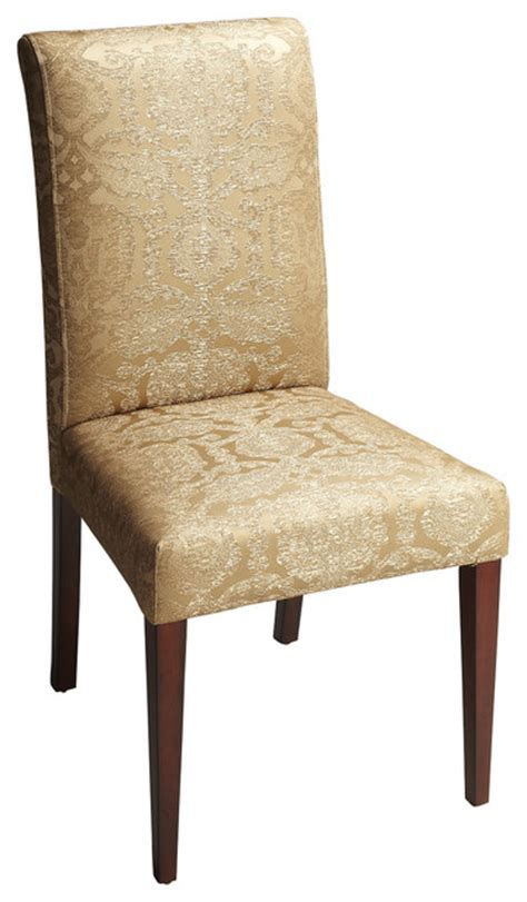 Gold Fabric Dining Room Chairs Parsons Chair Gold Damask Fabric Contemporary Dining
