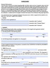 Sublease Agreement Template Word Free California Sublease Agreement Form Pdf Template