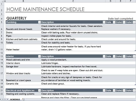 Home Maintenance Spreadsheet by Home Maintenance Spreadsheet Commonpence Co