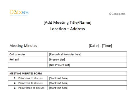 format for minutes of meeting template meeting minutes template free printable formats for word