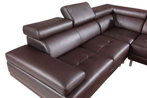 brown leather sectional sofa 9054 modern brown leather sectional sofa