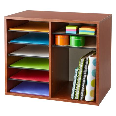 Safco Wood Adjustable Literature Organizer 12 Desk Supplies Organizer