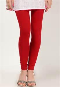 Womens red cotton churidar leggings