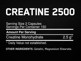 2 5 g creatine a day creatine 2500 caps optimum nutrition ireland