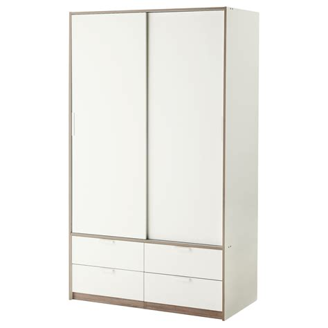 ikea wardrobes trysil wardrobe w sliding doors 4 drawers white 118x61x202