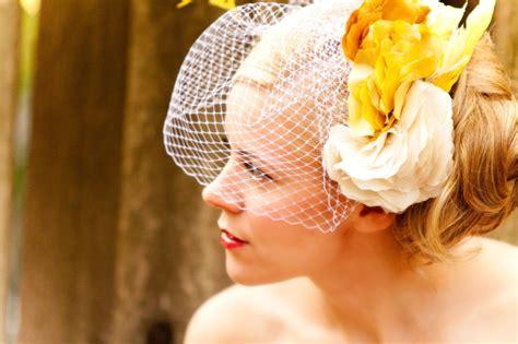 yellow hair accessories wedding wedding hair accessories birdcage veil yellow