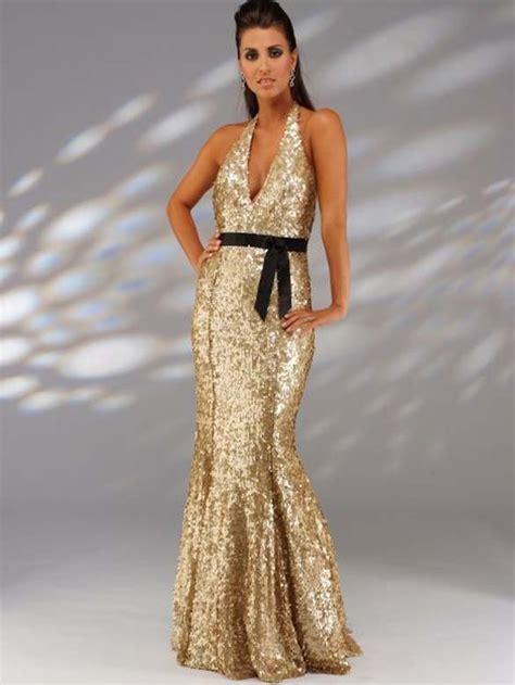 sexy glitzer abendkleid gold rueckenfrei mit neckholder
