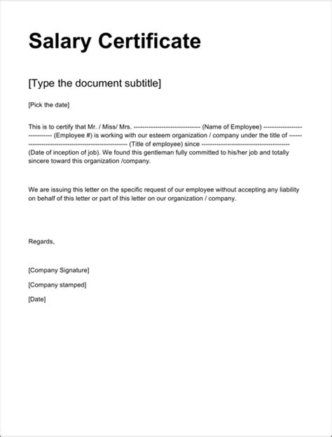 Sle Salary Certificate Letter Doc Salary Certificate Templates For Excel Pdf And Word
