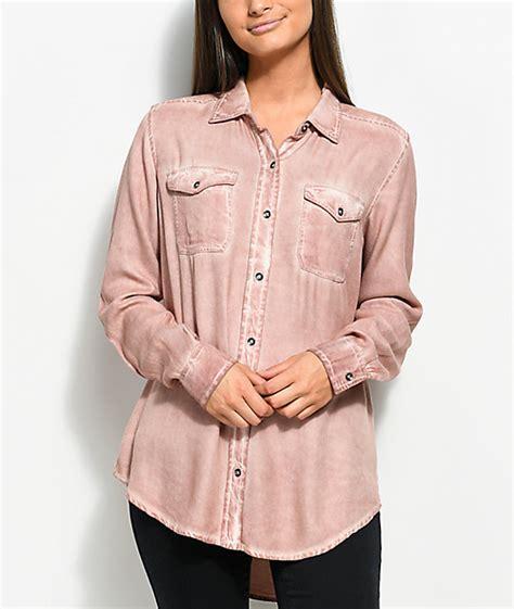 light pink button up shirt empyre jamie light pink pigment wash button up shirt zumiez