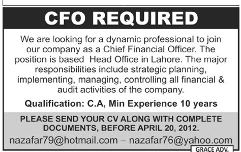 chief financial officer required by company in