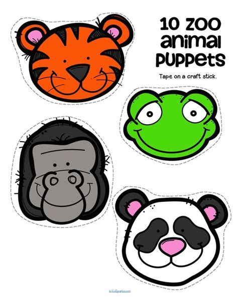 printable animal stick puppets zoo animals theme activities and printables for preschool