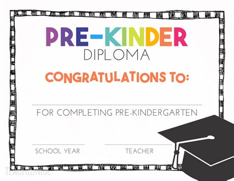 Free Pre K And Kindergarten Graduation Diplomas Teach Junkie Pre K Graduation Diploma Template