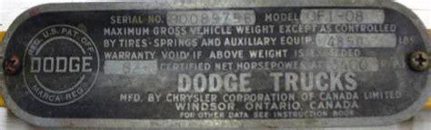 canadian built dodge  fargo truck serial