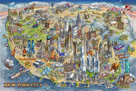 map to new york city new york city illustrated map
