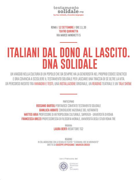 testamento solidale quot italiani dal dono al lascito dna solidale quot 12 settembre