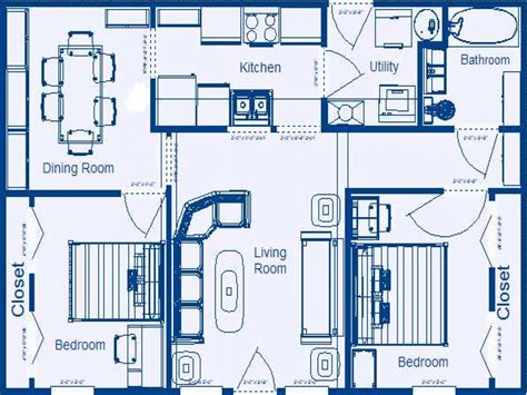 housing blueprints 2 bedroom house floor plans with dimensions 2 bedroom