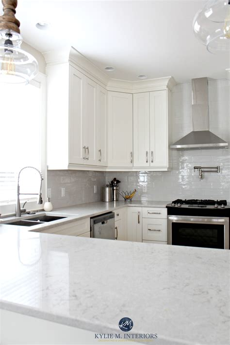 white kitchen subway tile backsplash low contrast white kitchen with bianco drift quartz