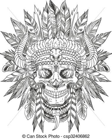 clip art vector of indian chief skull skull of native