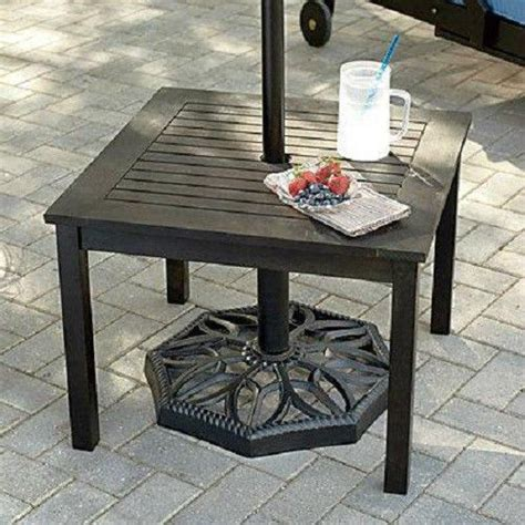 Small Patio Table With Umbrella Outdoor Eucalyptus Wood Side End Table W Umbrella Patio Deck Poo