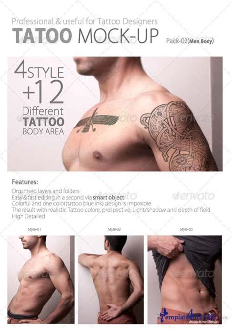 temporary tattoo mock up graphicriver tattoo mock up pack02 men body