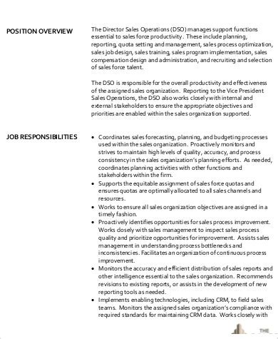 10 Operations Director Job Description Sles Sle Templates Sales Operations Description Template