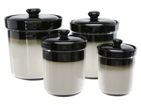 sango nova brown 4 piece kitchen canister set by sango sango nova set of 4 canisters black shipped free at zappos