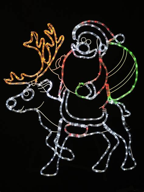 rope lighted christmas deer santa reindeer rope light silhouette 93cm lights the warehouse