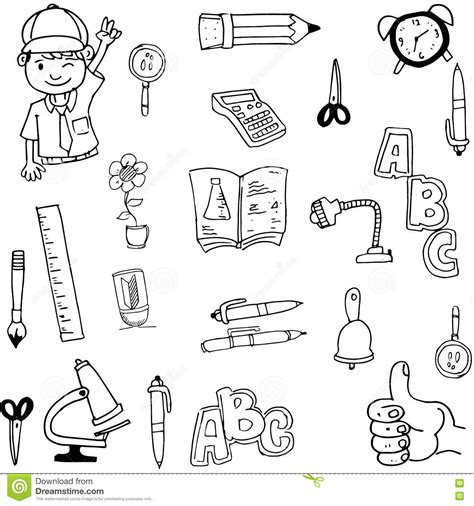 doodle tool doodle of tools school draw stock vector image