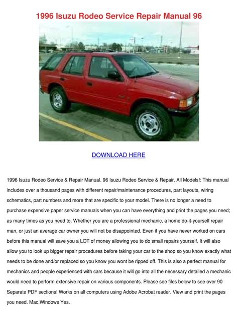 1996 isuzu rodeo service repair manual 96 by cathi keegan issuu