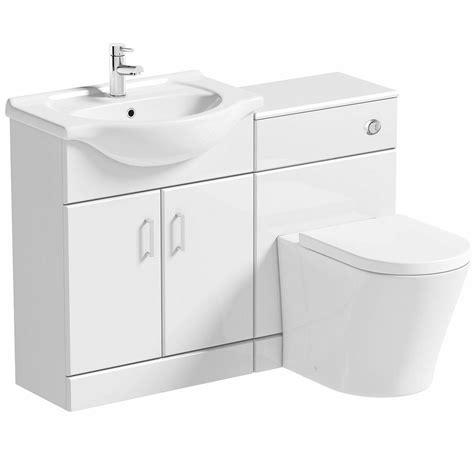 arte white gloss combination vanity unit small