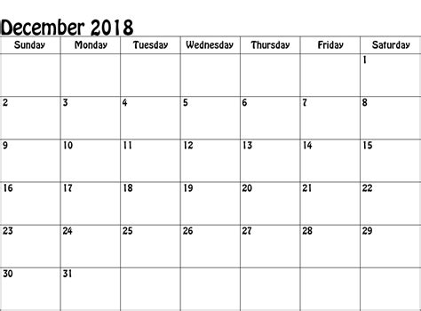 Blank Monthly Calendar 2018 Printable
