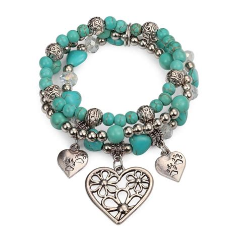 beaded charms charm bracelet set turquoise silver bead