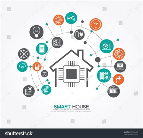 smart home automation technology infographics cartoon smart home control concept smart house stock vector