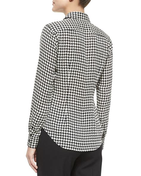 Blouse Houndstooth ralph black label sleeve houndstooth chiffon