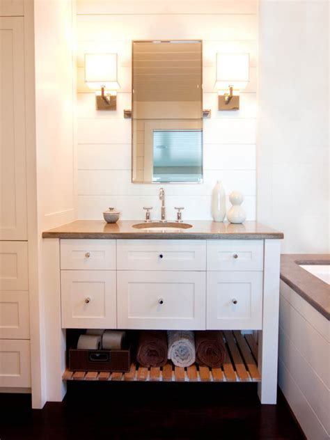 White Vanity With Gray Countertop Cottage Bathroom Cottage Bathroom Mirror