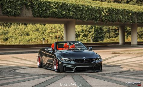 bmw m4 stanced stanced bmw m4 convertible f83 187 cartuning best car