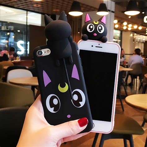 korea sailor moon lovely cat silicone cover for iphone 7 7 plus 6 6s 6