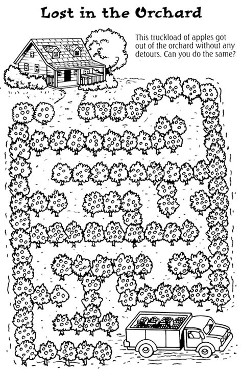 coloring pages of apple orchard coloring activity pages lost in the orchard maze