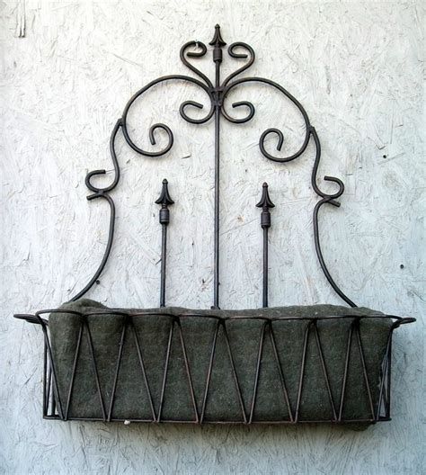 Wrought Iron Railing Planter Box by 37 Quot Wrought Iron Spear Fence Window Box Wall Planter