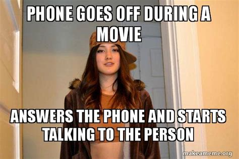 Talking On The Phone Meme - phone goes off during a movie answers the phone and starts