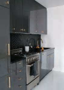 Black And Grey Kitchen Cabinets Gray Lacquer Cabinets Design Ideas