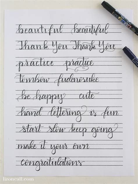 calligraphy handlettering for beginners beginner practice workbook for lettering and modern calligraphy with more than 40 different lettering fonts books free printable lettering practice sheets liz on call