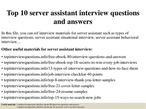 top 10 server assistant questions and answers