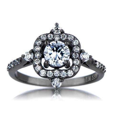 emmeline s vintage style black engagement ring cubic