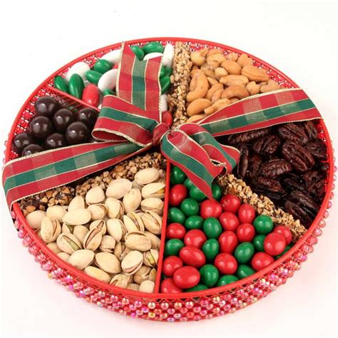 old large holiday beaded gift tray holiday nut gift