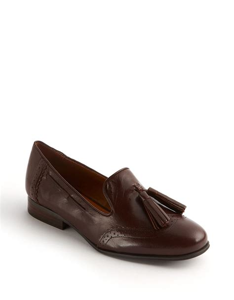 wingtip loafers nine west ariel leather wingtip loafers in brown lyst