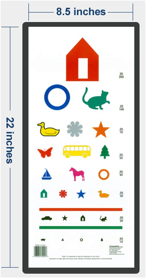 printable pediatric eye exam chart ennovation patented pediatric color eye chart